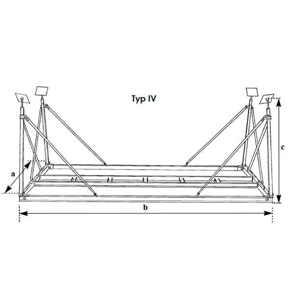 Bootsgestell für Schiffe bis 13 m Lüa, 4,5 m Breite, 2,2 m Tiefgang und bis max. 10 t Gewicht