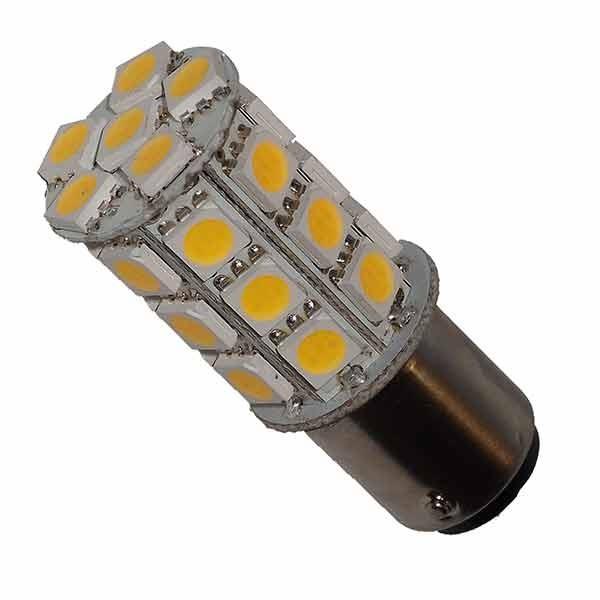 LED Leuchtmittel, BA 15d, 27 LEDs, 2,8 W (30 W), MULTIVOLT, Warmweiß